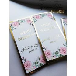 Menu weselne sweet pink